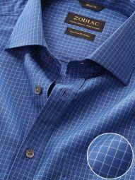 Boscolo Navy Cotton Classic Fit Formal Checks Shirt