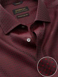 Bruciato Maroon Cotton Tailored Fit Evening Checks Shirt