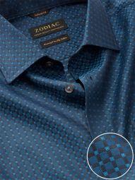 Bruciato Navy Cotton Tailored Fit Evening Checks Shirt