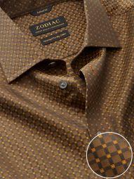 Bruciato Ochre Cotton Tailored Fit Evening Checks Shirt