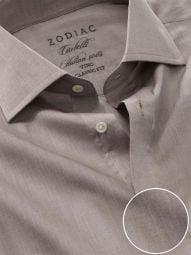 Carletti Light Grey Cotton Classic Fit Formal Solid Shirt