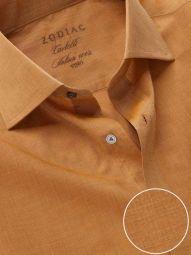 Carletti Ochre Cotton Classic Fit Formal Solid Shirt