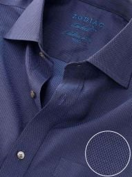 Carletti Navy Cotton Classic Fit Formal Solid Shirt