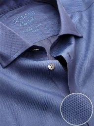 Carletti Navy Cotton Tailored Fit Formal Solid Shirt