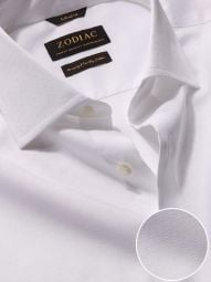 Carulli White Cotton Tailored Fit Formal Solid Shirt