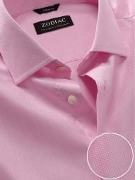Cascia Pink Cotton Tailored Fit Formal Solid Shirt