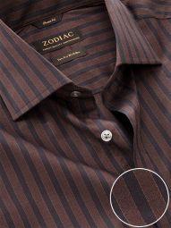 Chianti Chocolate Cotton Classic Fit Evening Striped Shirt