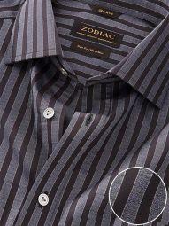 Chianti Dark Grey Cotton Classic Fit Evening Striped Shirt