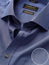 Chirico Navy Cotton Classic Fit Evening Checks Shirt