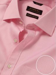 Cione Pink Cotton Classic Fit Formal Solid Shirt