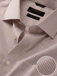 Da Vinci Beige Cotton Tailored Fit Formal Striped Shirt