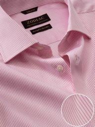 Da Vinci Pink Cotton Tailored Fit Formal Striped Shirt