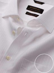 Da Vinci White Cotton Tailored Fit Formal Solid Shirt