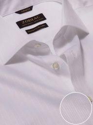 Da Vinci White Cotton Tailored Fit Formal Striped Shirt