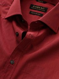 Fil A Fil Maroon Cotton Classic Fit Evening Solid Shirt