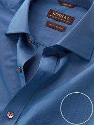 Fil A Fil Teal Cotton Classic Fit Evening Solid Shirt