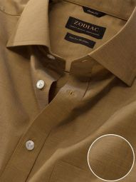Fil A Fil Ochre Cotton Classic Fit Evening Solid Shirt