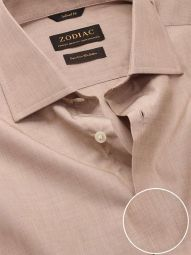 Fil A Fil Sand Cotton Tailored Fit Casual Solid Shirt