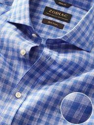 Positano Blue Linen Classic Fit Casual Checks Shirt