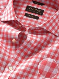 Positano Red Linen Classic Fit Casual Checks Shirt