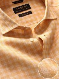 Positano Ochre Linen Tailored Fit Casual Checks Shirt