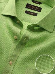 Positano Lime Linen Classic Fit Casual Checks Shirt