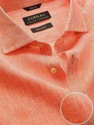 Fil A Fil Orange Linen Classic Fit Casual Solid Shirt