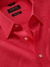 Positano Red Linen Classic Fit Casual Solid Shirt