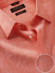 Positano Orange Linen Classic Fit Casual Solid Shirt