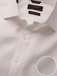 Positano White Linen Classic Fit Casual Solid Shirt