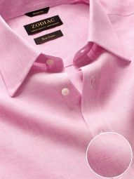 Positano Pink Linen Classic Fit Casual Solid Shirt