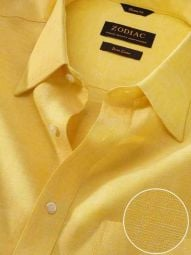 Positano Yellow Linen Classic Fit Casual Solid Shirt