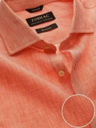 Fil A Fil Orange Linen Tailored Fit Casual Solid Shirt