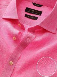 Fil A Fil Pink Linen Classic Fit Casual Solid Shirt
