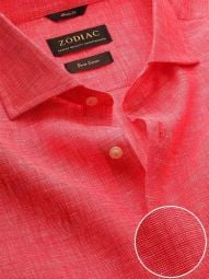 Fil A Fil Red Linen Classic Fit Casual Solid Shirt