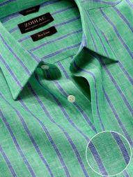 Positano Green Linen Classic Fit Casual Striped Shirt