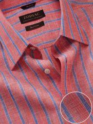 Positano Orange Linen Classic Fit Casual Striped Shirt