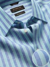 Positano Turquoise Linen Classic Fit Casual Striped Shirt