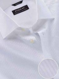 Marchetti White Cotton Classic Fit Formal Striped Shirt