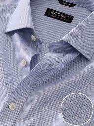 Mazzaro Blue Cotton Classic Fit Formal Checks Shirt