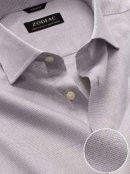 Mazzaro Light Grey Cotton Tailored Fit Formal Checks Shirt