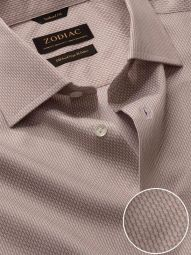 Montefalco Beige Cotton Tailored Fit Formal Solid Shirt