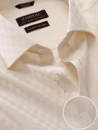 Monteverdi Cream Cotton Classic Fit Formal Solid Shirt