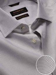 Novella Light Grey Cotton Tailored Fit Casual Checks Shirt