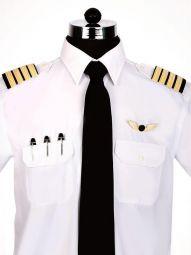 Pilot White Blended Slim Fit Formal Solid Shirt