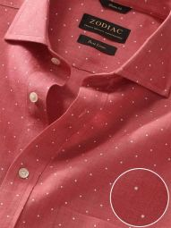 Praiano Red Linen Classic Fit Evening Printed Shirt