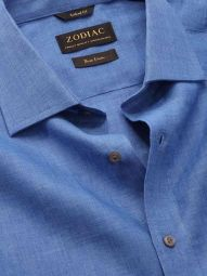 Praiano Blue Linen Classic Fit Evening Solid Shirt