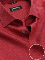 Savuto Red Cotton Tailored Fit Evening Solid Shirt
