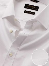 Tramonti White Cotton Classic Fit Formal Solid Shirt