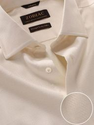 Tramonti Cream Cotton Tailored Fit Formal Solid Shirt